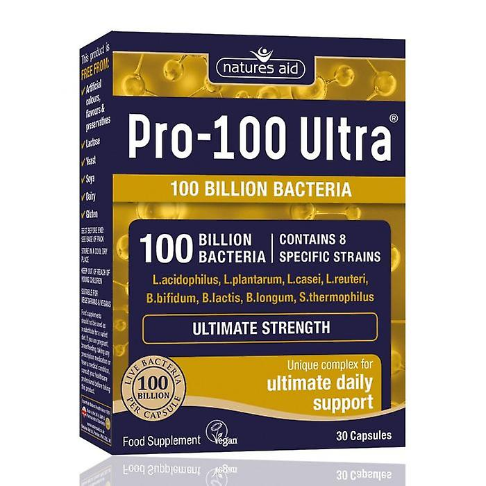 Natures Aid, Ultra Pro-100 (100 milliards bactéries) 30 capsules