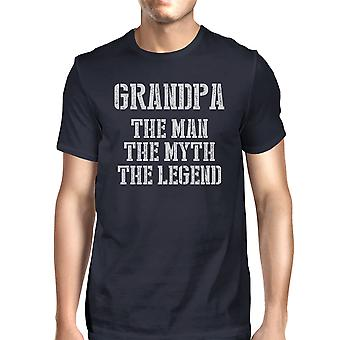 Legend Grandpa Mens Navy Cute Respect Grandfather T-Shirt For Family