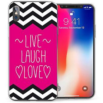 iPhonegeval X Live Life Love citeer TPU Gel - roze / wit