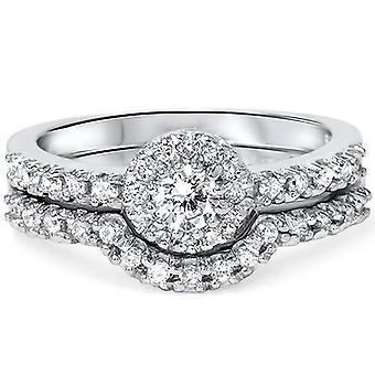1ct Halo Diamond Engagement Wedding Ring Set 10K White Gold