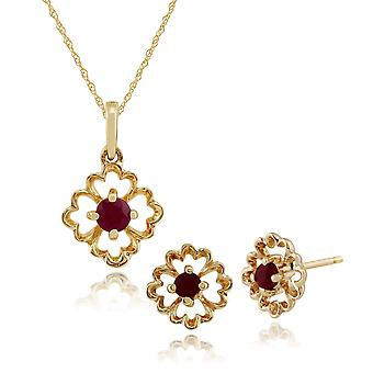 Gemondo 9ct Yellow Gold Floral Ruby Stud Earrings & 45cm Necklace Set