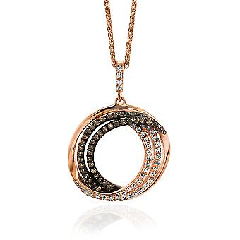 Orphelia plata 925 colgante con cadena de oro rosa chapado blanco/marrón circonio ZH-7055