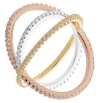 Orphelia Silver 925 Ring 3 Color Cross Band -Rose-Gold Colored  ZR-7280
