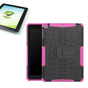 Hybrid outdoor protective case Pink for NEW Apple iPad 9.7 2017 bag + 0.4 H9 tempered glass