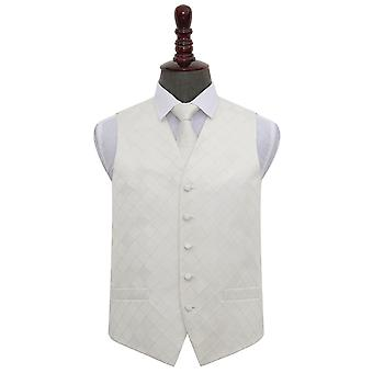 Ivory Diamond Wedding Waistcoat & Tie Set