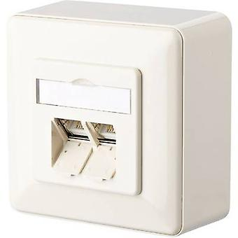 Metz Connect Network outlet Surface-mount CAT 6 2 ports Pearl white
