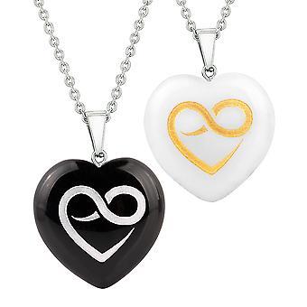 Heart Amulets Infinity Eternity Love Powers Couples Best Friends Agate White Quartz Necklaces