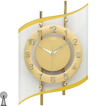 Wall clock radio radio controlled wall clock analog golden modern curved with glass