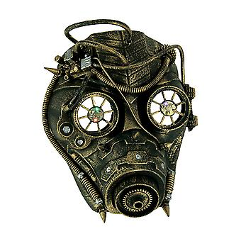 Metallic Gold Spiked Steampunk Gas Mask With LED Lights