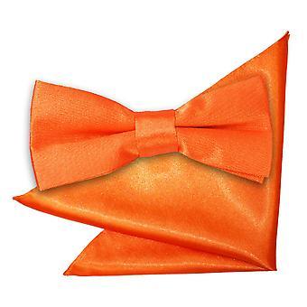 Bränd Orange oformaterad Satin fluga & Pocket Square Set för pojkar