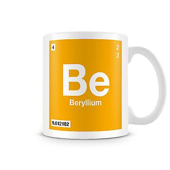 Scientific Printed Mug Featuring Element Symbol 004 Be - Beryllium