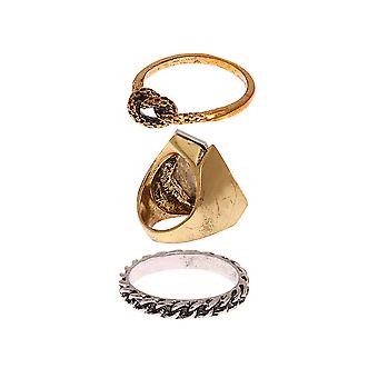 3 Piece Gold and Silver Ring Set