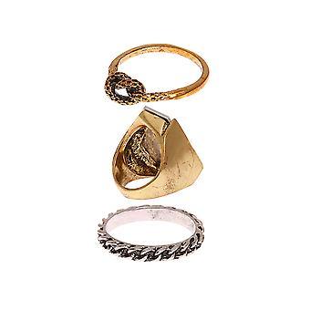 3 piezas de oro y plata anillo conjunto