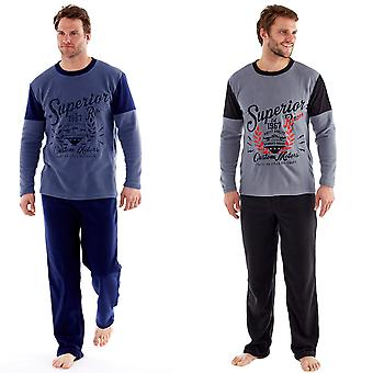 Harvey James Mens termisk Pyjamas bukser langermet Fleece topp Loungewear sett