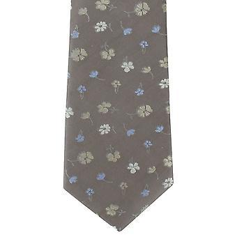 Michelsons de Londres Simple fleur soie cravate - Taupe