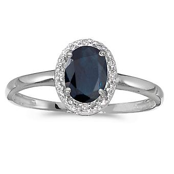 10 k hvitt gull ovale safir og Diamond Ring