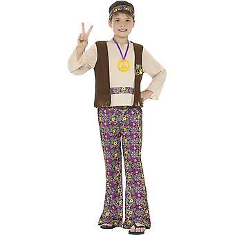 Costume garçon hippie, multicolore, avec dessus, attaché gilet, pantalon, médaillon & bandeau