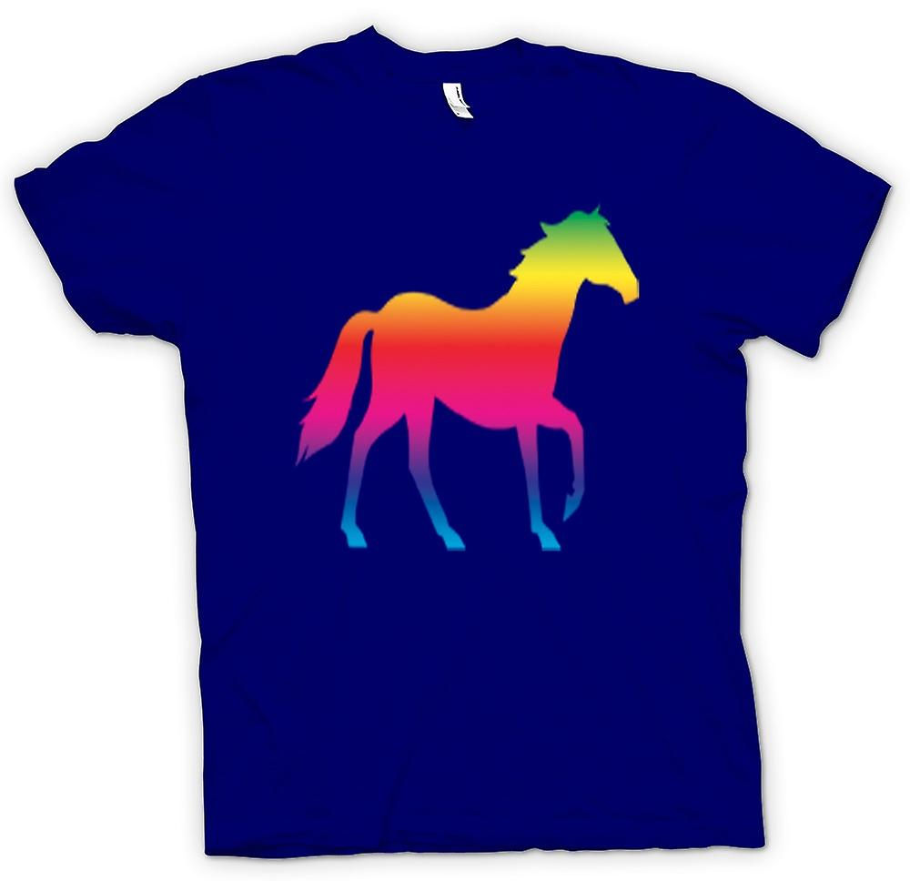 Mens T-shirt - Rainbow Design Horse Canter Psychedelic