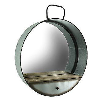 Rustikale verzinktem Metall-Wanne Frame runder Wandspiegel mit Schublade