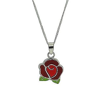 TOC Girls Sterling Silver Red Rose Pendant Necklace 16