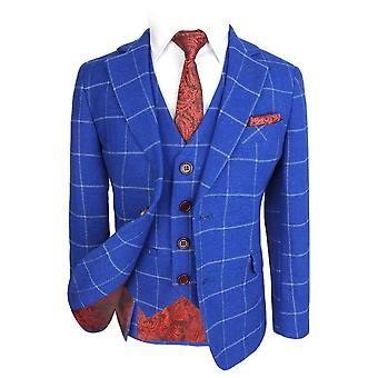 Boys Exclusive Woven Effect Royal Blue Window Pane Check Suit