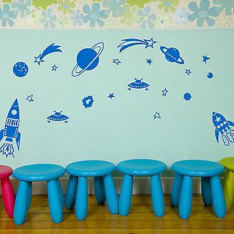 惑星とロケットのセット子供の壁のステッカー