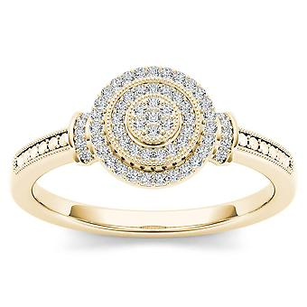 IGI Certified 10k Yellow Gold 0.14 Ct Diamond Halo Cluster Engagement Ring
