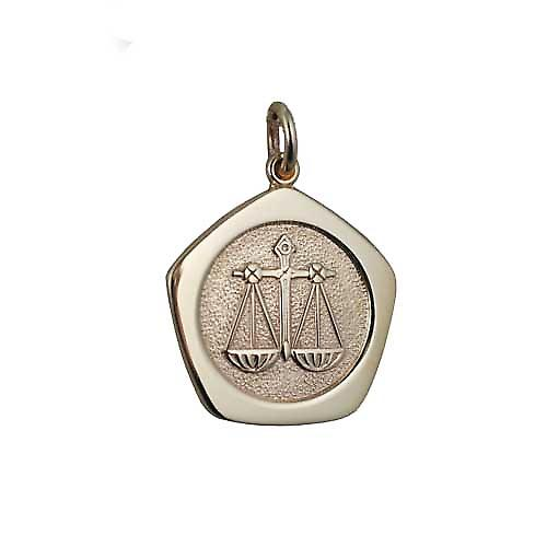 9ct Gold 21mm five sided Libra Zodiac Pendant