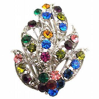 Leaf Bouquet Brooch Alloy Metal w/ Spring MultiColor Crystals Brooch