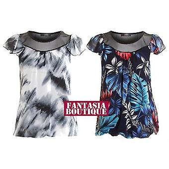 Ladies Mesh Floral Lined Chiffon White Black Flower Printed Women's Top