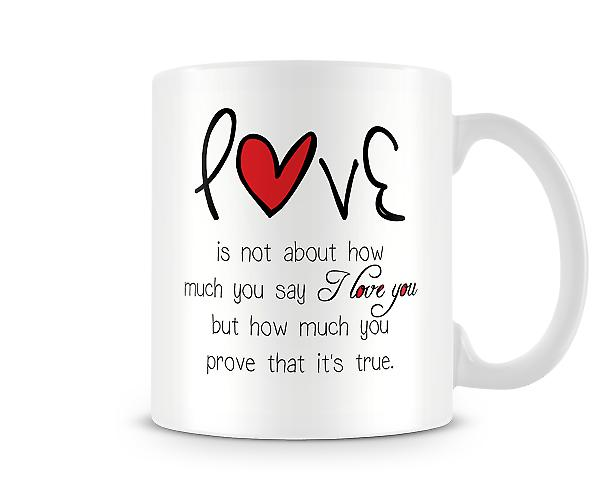 Decorative Writing It's Not About How Much You Say Mug