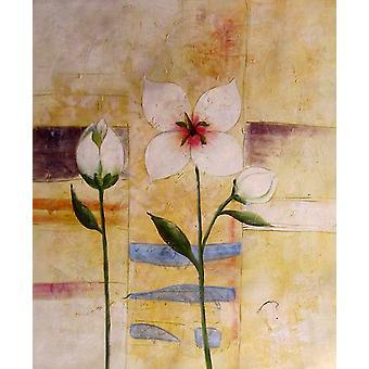 Blomster oljemaleri på lerret, 50 x 60 cm
