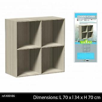 4 Cubes Wooden Storage Shelf Natural Colour 70x34x70cm