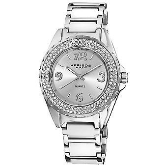Akribos XXIV Women's Quartz Mineral-Crystal Ceramic Bracelet Watch AK514WT