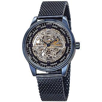 Akirbos XXIV AK1074BU Men's  Skeleton Automatic Watch Stainless-Steel Mesh Bracelet Watch