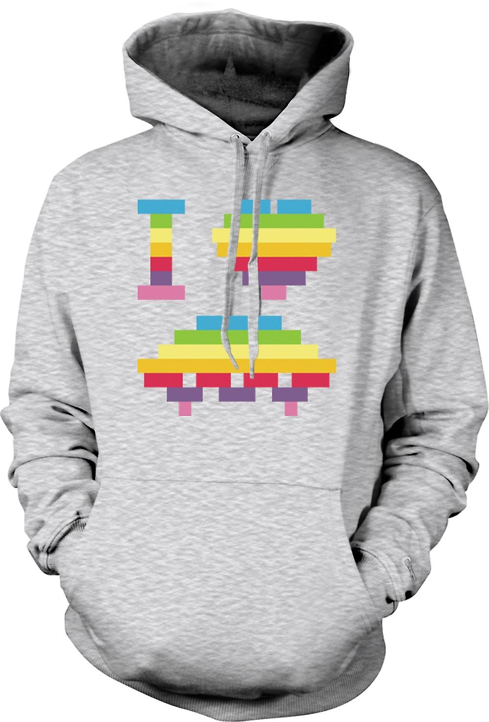Mens Hoodie - I Love UFOs - Space Ship - Funny