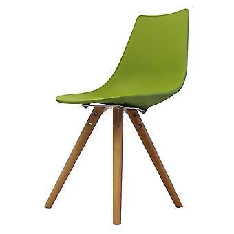 Chaise de salle à manger en plastique vert iconique de fusion vivante avec des jambes en bois clair