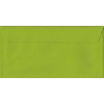 Fresh Green Peel/Seal DL Coloured Green Envelopes. 100gsm FSC Sustainable Paper. 110mm x 220mm. Wallet Style Envelope.