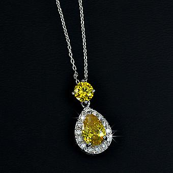 18K Gold Plated Yellow Cubic Zirconia Tear Drop Pendant