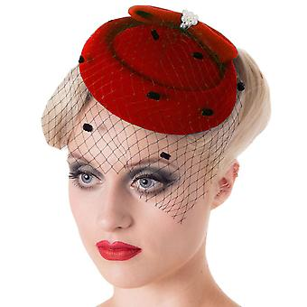 Chapeau rouge judy Fascinator interdit
