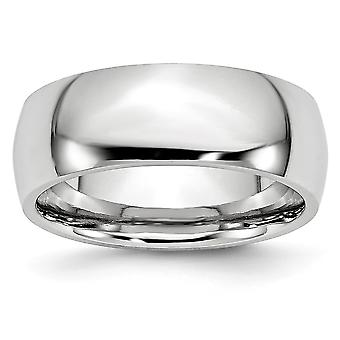 Cobalt Chromium Half Round Engravable Polished 8mm Band Ring - Ring Size: 7 to 13
