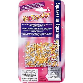 Be Dazzler Stud Refill 200 Pkg Squares Gold & Silver Bdzq