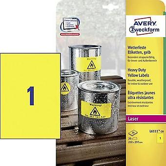 Avery Labels Yellow 210 x 297mm (20) Avery-Zweckform L6111-20