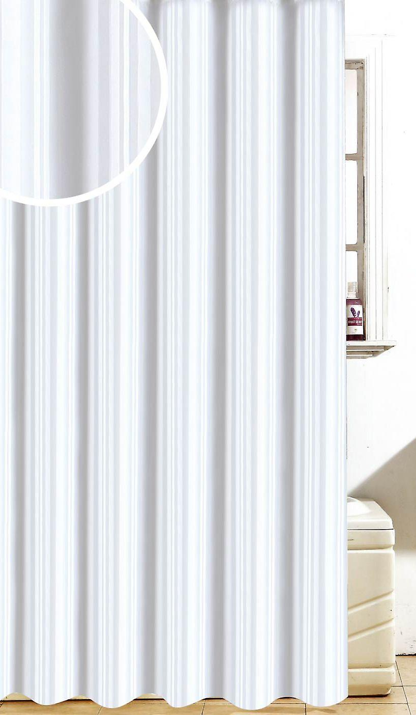Satin Stripe White Designer Polyester Shower Curtain 180 x 180cm
