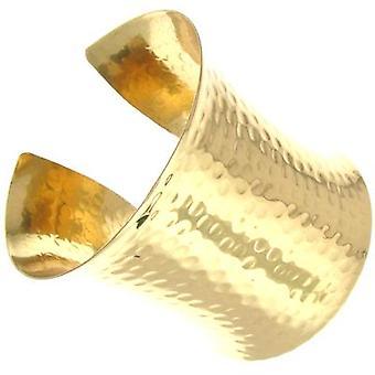 Large Shiny Gold Hammered Bold Cuff Bangle