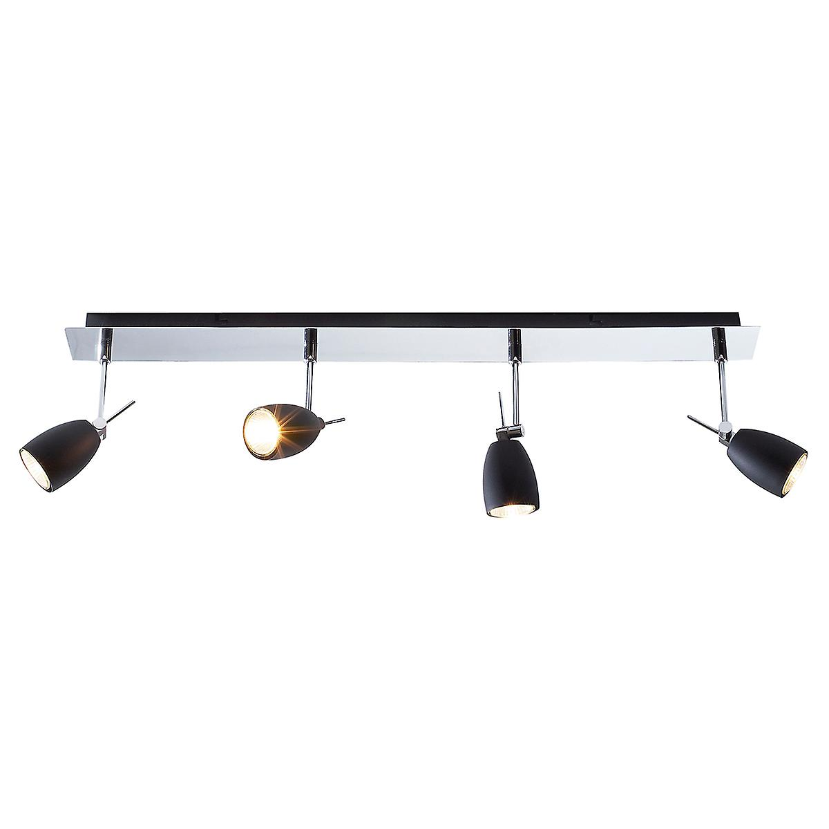 Dar EMP0450 Empire Modern Polished Chrome 4 Bar Spotlight With Black Shades