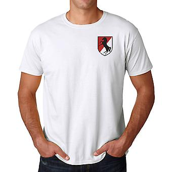 US Army 11th Armoured Cavalry Embroidered Logo - Ringspun Cotton T Shirt