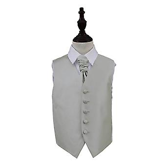 Boy's Silver Solid Check Wedding Waistcoat & Cravat Set