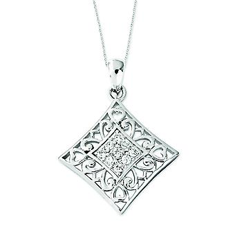 Sterling Silver Cubic Zirconia I Love You All Year Long 18inch Necklace