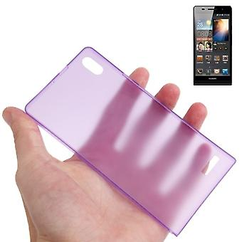 Protective cover case ultra thin 0.3 mm for mobile Huawei Ascend P6 purple / violet transparent